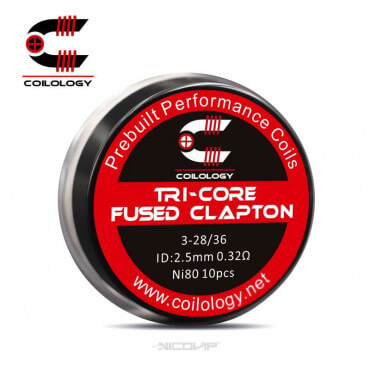 Pack 10 Coils Ni80 Tri-Core Fused Clapton Coilology
