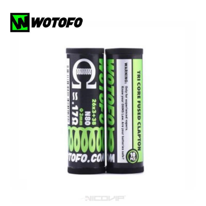 Pack 10 Coils Tri Core Fused Clapton 0,17 ohm Wotofo