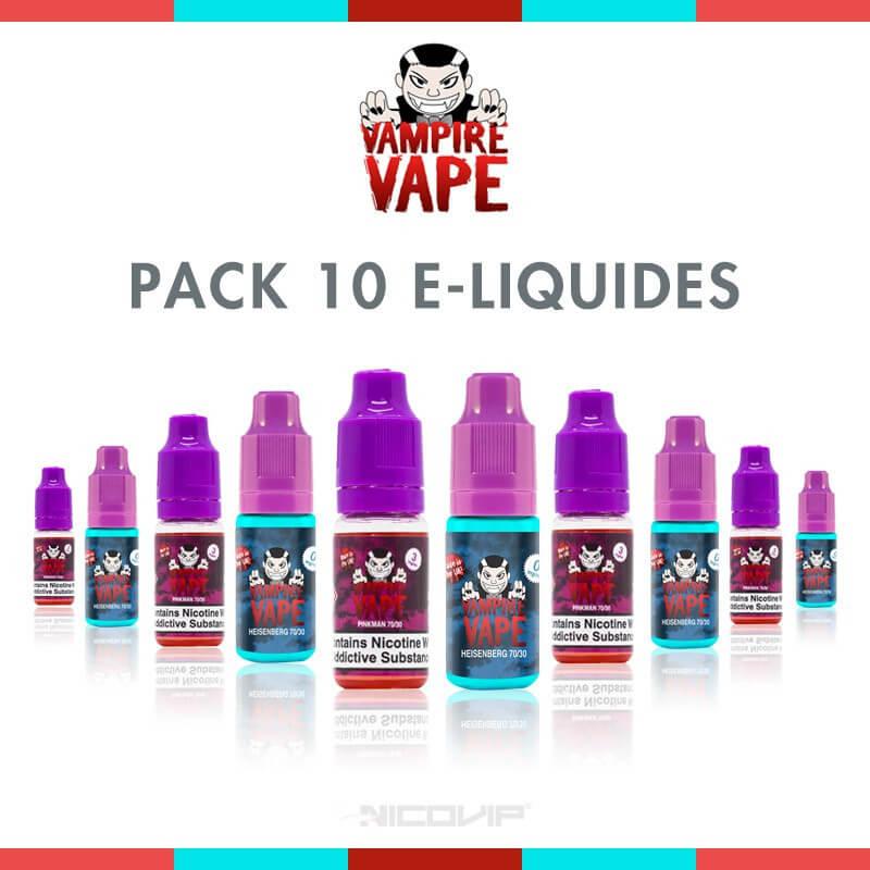 Pack 10 E-liquides Vampire Vape