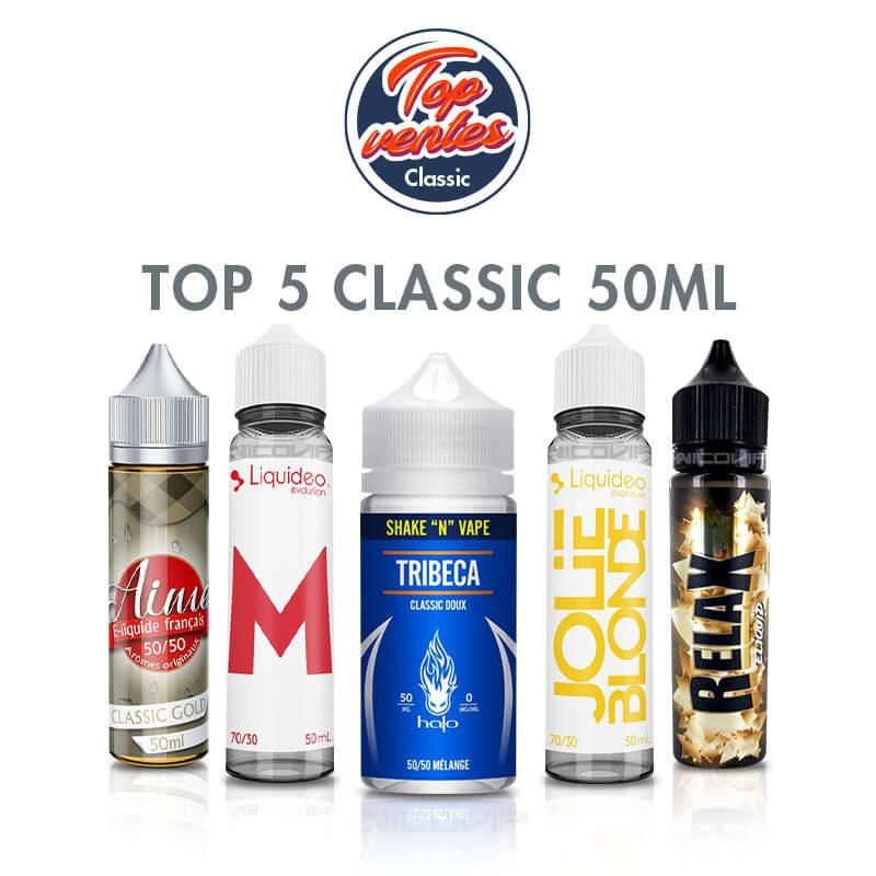 Top 5 e-liquides Classic 50 ml