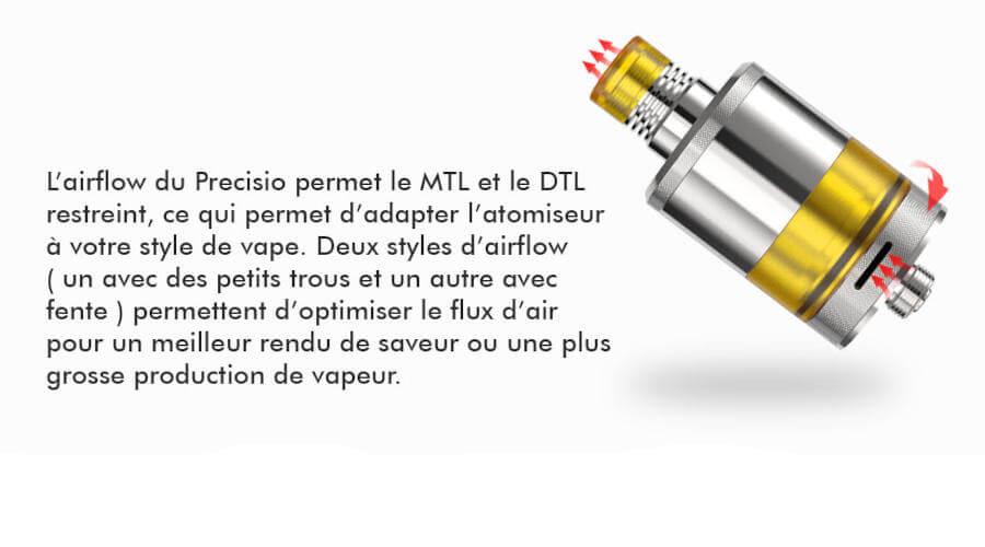 Precisio MTL RTA 2.7ml 22mm BD Vape airflow