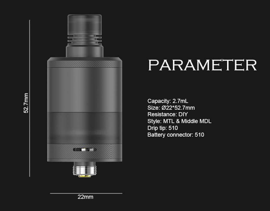 Dimensions Precisio MTL RTA 2.7ml 22mm BD Vape