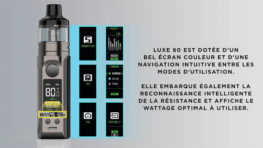kit-luxe-80-Vaporesso modes