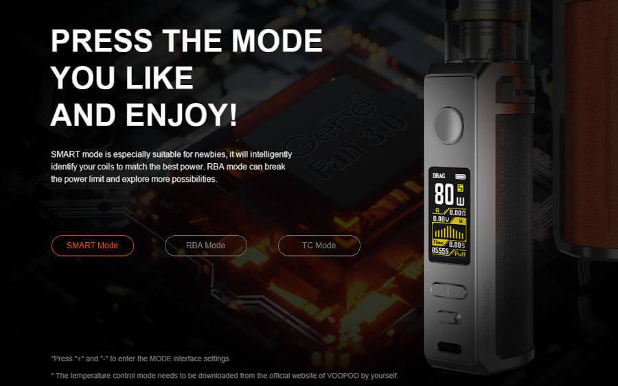 Kit Drag S Pro 3000mAh Voopoo modes