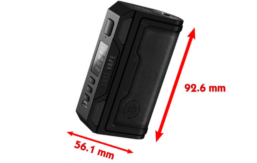 dimensions Box Thelema DNA 250C Lost vape