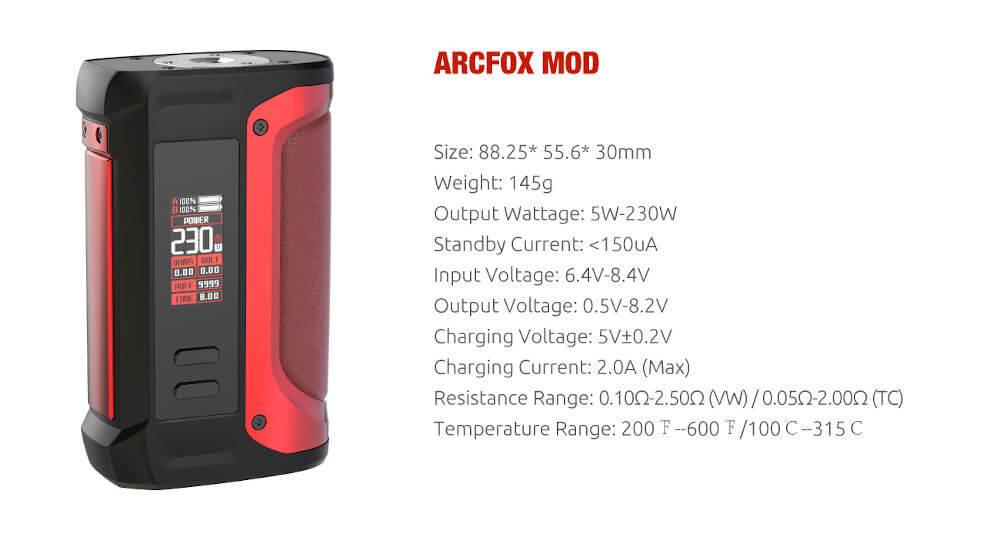 caracteristiques box arcfox